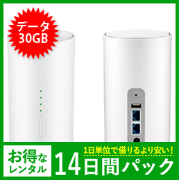 【30GB】【14日レンタルパック】Speed Wi-Fi HOME L01